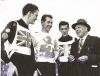 1962 Test Match British League v Rest of England. L/R Laurence Spaulding-Dennis Daniel-Richard Baker-Johnny Hoskins(speedway Promoter).