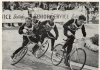 1962 BCSF National Championship at Garratt Park(heat 4). John Cobbin(Tottenham) leads, with Ted Cracknell(South London) inner & Roy Baker(South London) reigning champion outer, at the back Alan Raynor(Thurrock).