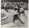 1962 BCSF National Championship at Garratt Park. World Champion Les Westwood(Tottenham) races away from fellow team-mate Mick Jeffery, Mike Green(Hellingly) & Alan Raynor(Thurrock).