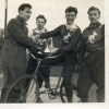 1954. Arthur Griffiths presents Club Trophy to Nobby Dunn, Wally Bracey(r) runner-up, Len Adams(l) 3rd place.