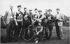 1952 Team taken at new track. Mr E.Branch-Bill Nutting-P. Woollard-Pete Carless-Charlie Sims-Ken Brenchley-Pete Chapman-Nobby Clark-Nobby Dunn. In front Midge Moylem.
