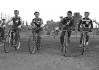 1951/52 Walthamstow Diamonds v The Kangaroos ? Approaching the start gate(note pull cords laying on track). L/R: ?-Ron Tiley(D)-?-Don Smith(D).