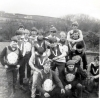 1967 West Vale, Halifax. Newcastle riders L/R: Micky Cooney- Gordon Dominey(partly hidden)-Jim Graham- Keith Dyer- Bruce Hiscock(head bowed)- George Taylor(bobble hat)-Norman Carson(capt)-Jim Smith. West Vale won 67-29.